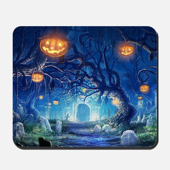 Halloween Night In Cemetery Mousepad
