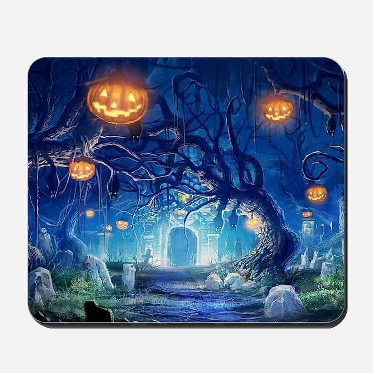 Halloween Night In Cemetery Mousepad