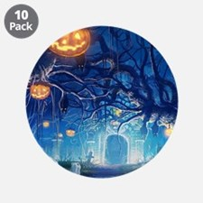 """Halloween Night In Cemetery 3.5"""" Button (10 pack)"""