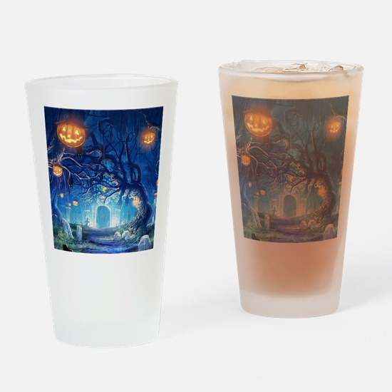 Halloween Night In Cemetery Drinking Glass