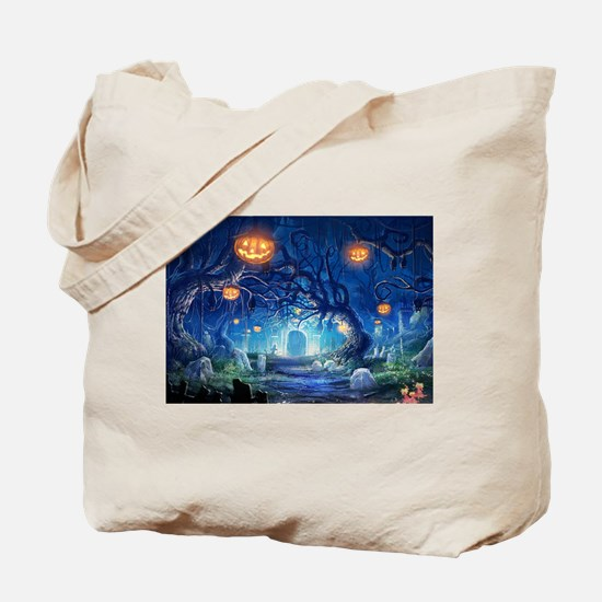 Halloween Night In Cemetery Tote Bag