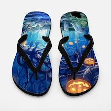 Halloween Night In Cemetery Flip Flops