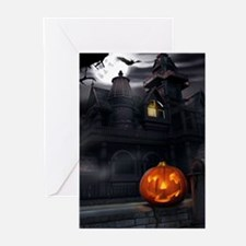 Halloween Pumpkin And Haunted House Greeting Cards