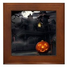 Halloween Pumpkin And Haunted House Framed Tile