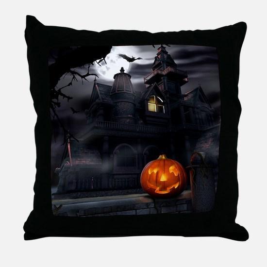 Halloween Pumpkin And Haunted House Throw Pillow