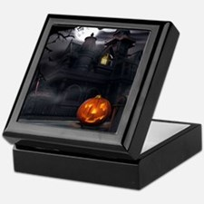 Halloween Pumpkin And Haunted House Keepsake Box