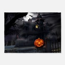 Halloween Pumpkin And Haunted House 5'x7'Area Rug