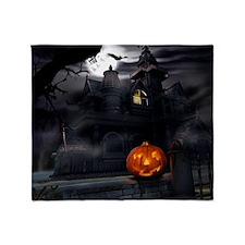 Halloween Pumpkin And Haunted House Throw Blanket