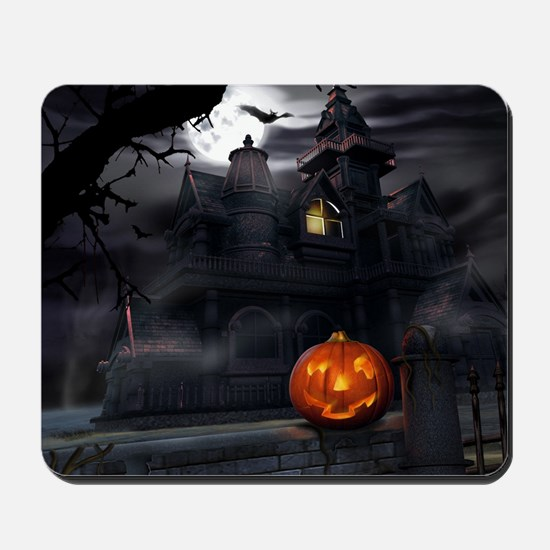 Halloween Pumpkin And Haunted House Mousepad