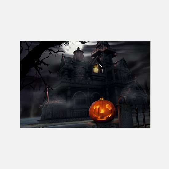 Halloween Pumpkin And Haunted House Magnets