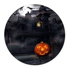 Halloween Pumpkin And Haunted House Round Car Magn