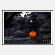 Halloween Pumpkin And Haunted House Banner