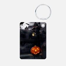 Halloween Pumpkin And Haunted House Keychains