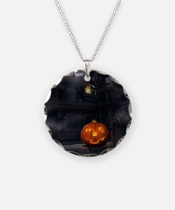 Halloween Pumpkin And Haunted House Necklace