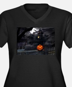 Halloween Pumpkin And Haunted House Plus Size T-Sh