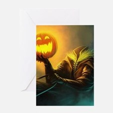 Rider With Halloween Pumpkin Head Greeting Cards