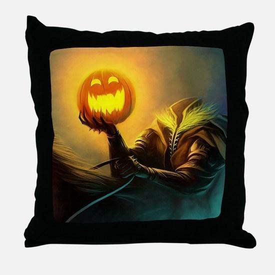 Rider With Halloween Pumpkin Head Throw Pillow