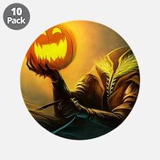 """Rider With Halloween Pumpkin Head 3.5"""" Button (10"""