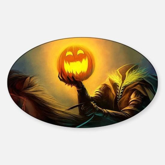 Rider With Halloween Pumpkin Head Decal