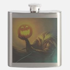 Rider With Halloween Pumpkin Head Flask