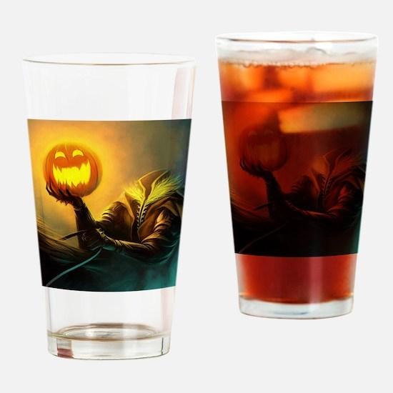 Rider With Halloween Pumpkin Head Drinking Glass