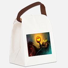 Rider With Halloween Pumpkin Head Canvas Lunch Bag