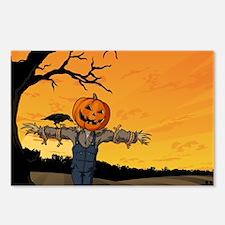 Halloween Scarecrow With Pumpkin Head Postcards (P