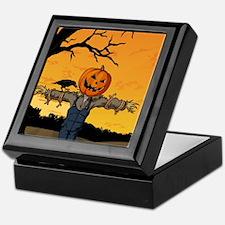 Halloween Scarecrow With Pumpkin Head Keepsake Box