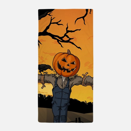 Halloween Scarecrow With Pumpkin Head Beach Towel