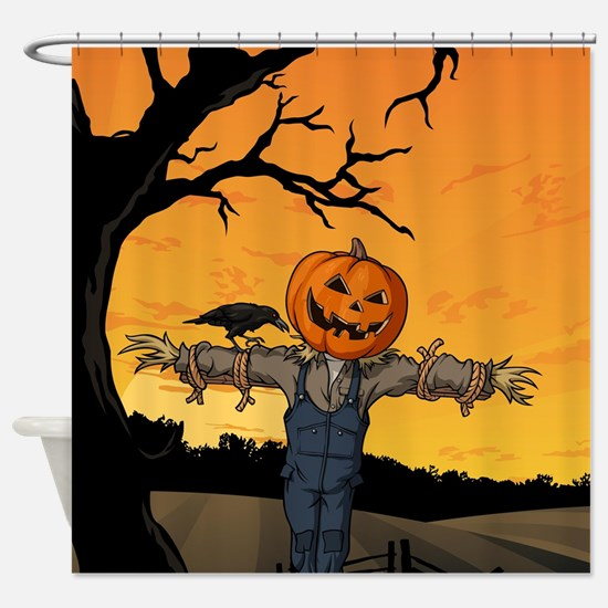 Halloween Scarecrow With Pumpkin Head Shower Curta
