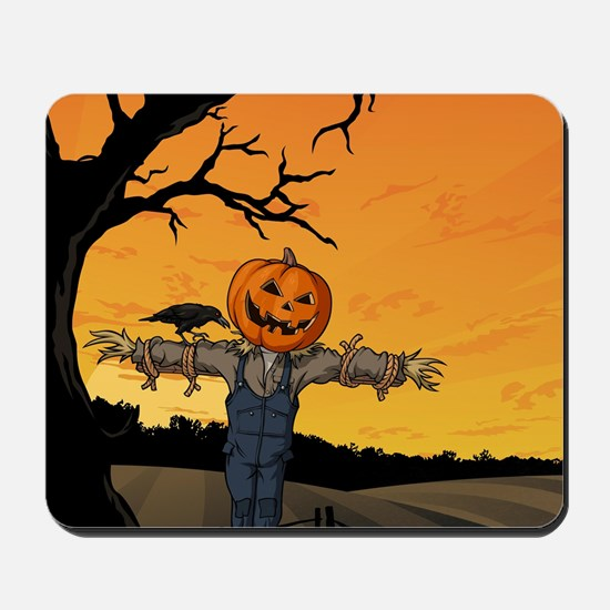 Halloween Scarecrow With Pumpkin Head Mousepad