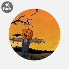 "Halloween Scarecrow With Pumpkin Head 3.5"" Button"