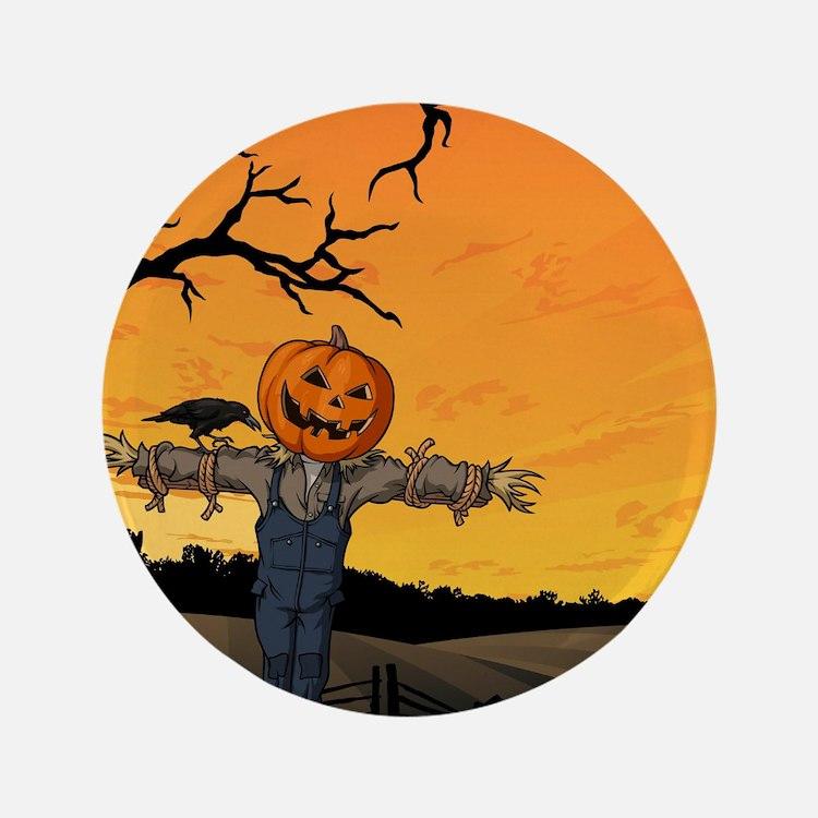 Halloween Scarecrow With Pumpkin Head Button
