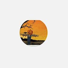 Halloween Scarecrow With Pumpkin Head Mini Button