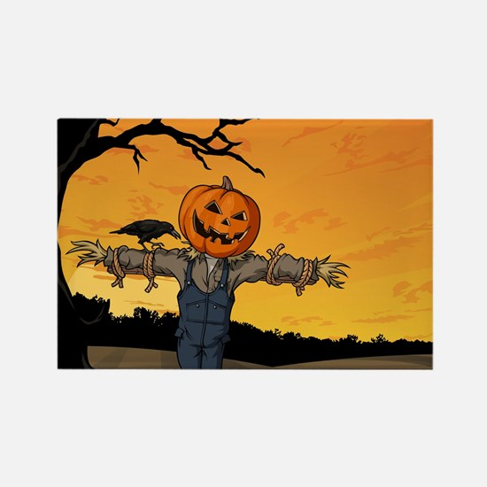 Halloween Scarecrow With Pumpkin Head Magnets