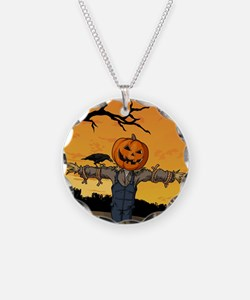 Halloween Scarecrow With Pumpkin Head Necklace