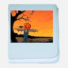 Halloween Scarecrow With Pumpkin Head baby blanket