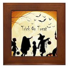 Halloween Trick Or Treat Kids Framed Tile