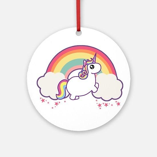 Chubby Unicorn Round Ornament