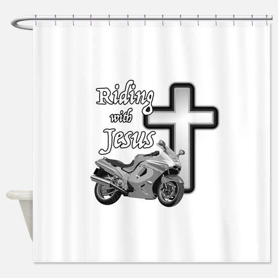 Riding with Jesus Shower Curtain