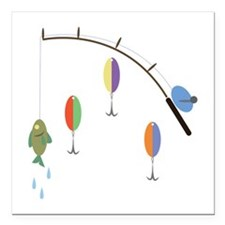 "Fishing Pole Square Car Magnet 3"" x 3"""