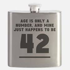 Age Is Only A Number 42nd Birthday Flask