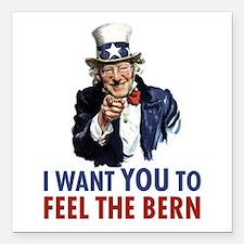 "Bernie Uncle Sam Square Car Magnet 3"" x 3"""