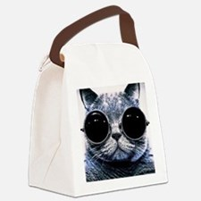 Cool Cat With Shades Canvas Lunch Bag