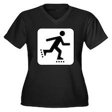 Rollerblade  Women's Plus Size V-Neck Dark T-Shirt