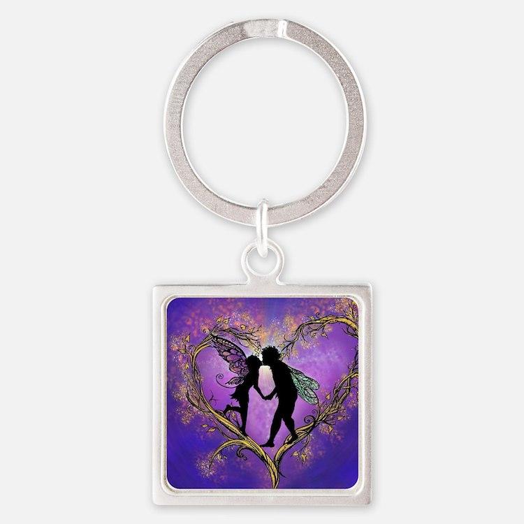 Kissing Fairies Square Keychain