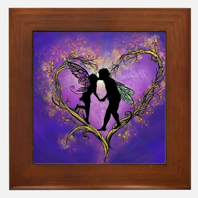 Kissing Fairies Framed Tile