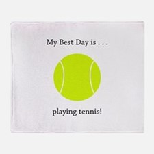 Best Day Playing Tennis Gifts Throw Blanket