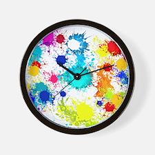 Paintball Splatter Wall Wall Clock