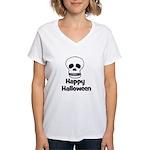 Happy Halloween (skull) Women's V-Neck T-Shirt